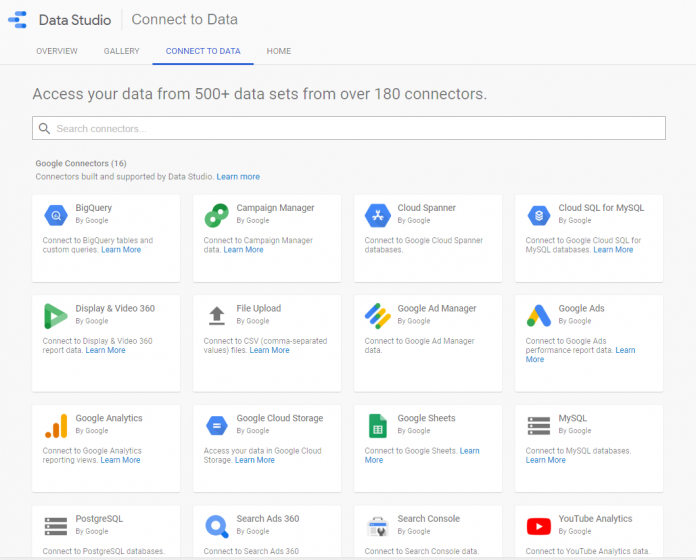 How to connect Data Studio to data sources
